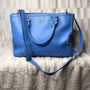Tory Burch Robinson Double Zip Blue Handbag Purse